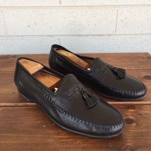 Santoni Black Leather Tassel Loafers Size 11 EE